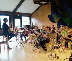 Probe der Orchesters unter der Bläser BigBand unter Leitung von Frauke Preisler.